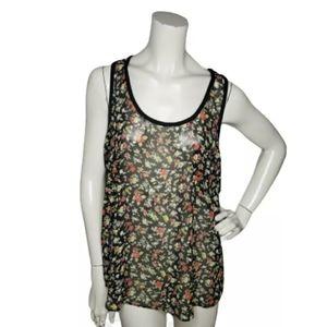 BCBG Womens Tank Top Sheer Black Floral Pocket M